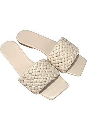Generic Sandalen für Frauen Flats Strand Slides Sommer Haus Hausschuhe Schwarz Sandalen für Frauen Square Toe Geflochtene weiße Schuhe, Elfenbein (gebrochenes )