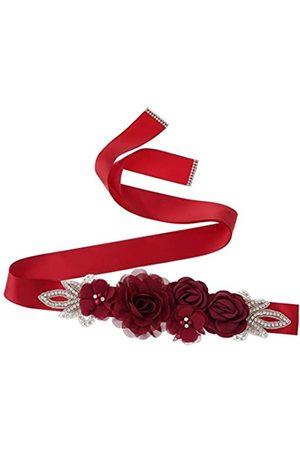 Higohome Brautschärpe, handgefertigt, Rosen mit Perlen, Strass, Perlen, Satinband