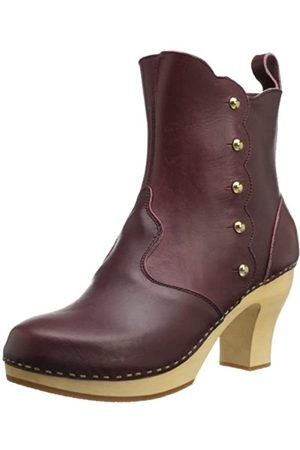 Swedish Hasbeens Damen Stiefelette Button Boot, Violett (Bordeaux)