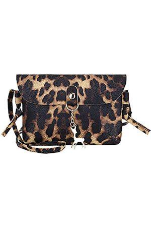 Caviotess Umhängetasche aus Leder mit Leopardenmuster, Schultertasche, Handytasche, Geschenk für Frauen und Mädchen, Braun (dunkelbraun)