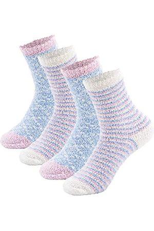 Panda Bros Bequeme und weiche Damen-Socken, Plüsch-Chenille-Sherpa-Hausschuh-Socken, flauschige Crew-Socken, lässige Schlafsocken