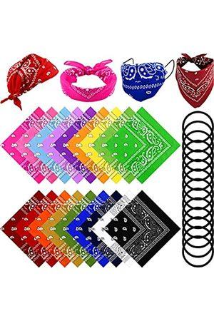SATINIOR 18 Farben Bandana Paisley Bandanas Doppelseitiger Druck Quadratisch Taschentücher Stirnbänder Cowboy Bandana mit 20 elastischen Haarbändern Seil für Damen Herren Party Favor