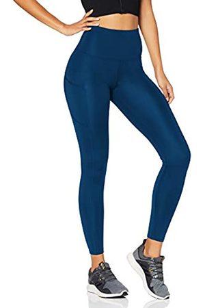 AURIQUE Amazon-Marke: Damen Lauf-Leggings mit hohem Bund und Seitentaschen, Blau (Gibraltor Sea)
