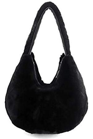 Surell Echte Rex-Kaninchenfell-Schultertasche – flauschige Tragetasche – niedliche, flauschige, weiche Tasche mit Reißverschluss – luxuriöse, große geräumige Mode-Tasche – schickes
