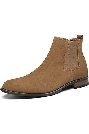 JORDI GIGO Winter-braune Chelsea-Stiefel für Herren – hohe Schlupfstiefel aus Wildleder mit Fellfutter, wasserdichte Leder-Stiefeletten für den täglichen Gebrauch, Beige (camel)