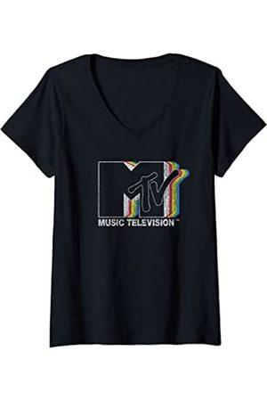 MTV Damen Static Rainbow Logo T-Shirt mit V-Ausschnitt