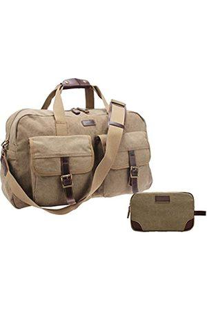 IBLUE Reisetasche/Schultertasche aus dickem Segeltuch, mit Lederverzierung