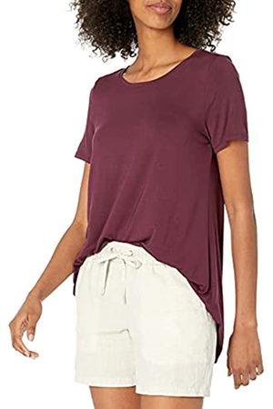 Amazon Damen-T-Shirt mit U-Ausschnitt, Violett (Burgundy)
