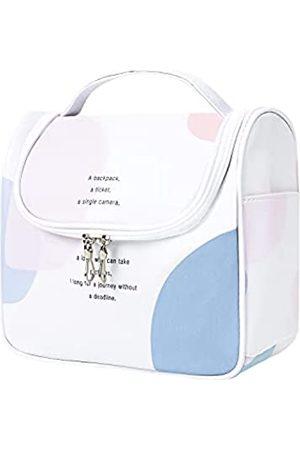 GERINLY Farbblock-Hängende Kosmetiktasche für Damen, tragbare Make-up-Tasche