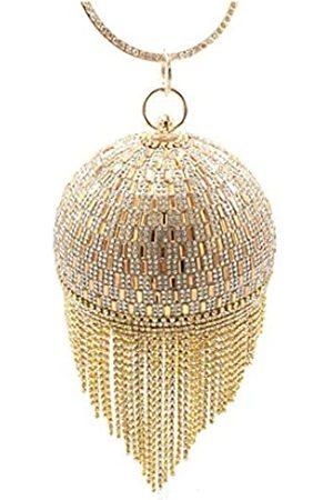 UMREN Damen-Clutch mit runden Kristallen, für Hochzeit, Party, Handtasche, ( 3)