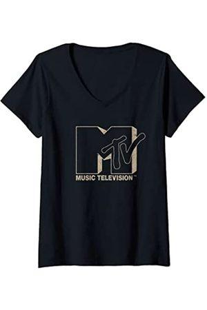 MTV Damen Logo Drop Shadow T-Shirt mit V-Ausschnitt