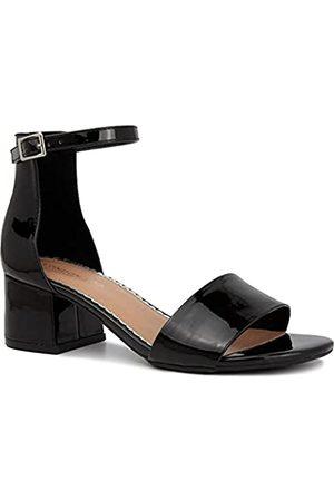 London Fog Damen Nikki Niedrig Zweiteiliger Blockabsatz Kleid Schuh Damen Knöchelriemen Pumps Sandalen, Schwarz (schwarzer lack)