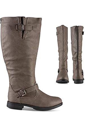 Twisted Amira Damen Reißverschluss Kniehohe Stiefel, breite Wade, niedriger Absatz Damen Schuhe