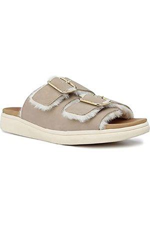 London Fog Damen Sandalen - Lorraine Damen Comfort Slides, Doppelschnalle, Riemen, verstellbare Sandalen, (Sand mit Fell)
