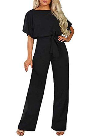 HAPPY SAILED Damen-Overall, locker, kurzärmelig, mit Gürtel, weites Bein