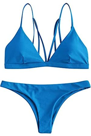 ZAFUL Damen Gestreiftes High Leg Cami Bikini Set - Blau - X-Large