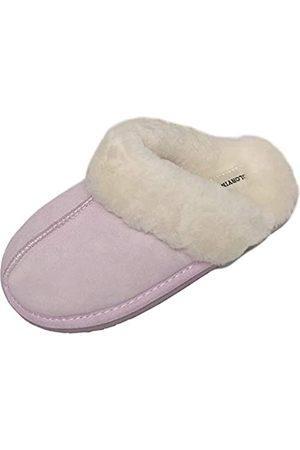 OFADD Schaffell-Hausschuhe für Damen, gemütliches Shearling und Wildleder-Obermaterial, Pink (rose)
