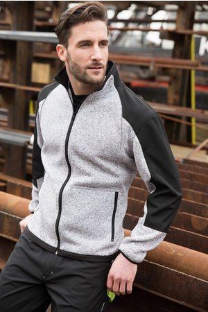 Terrax Workwear Herren Fleecejacken - Strickfleecejacke mit Softshelleinsätzen