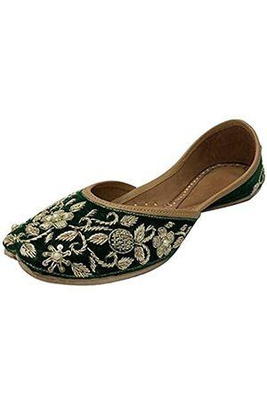 Step N Style Indische handgemachte Mojari Schuhe Brautschuhe für Frauen Flach Juttis Ethno Jooti