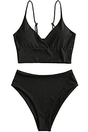 ZAFUL Damen Tankini-Set mit gerüschtem Badeanzug mit hoher Taille - - Small