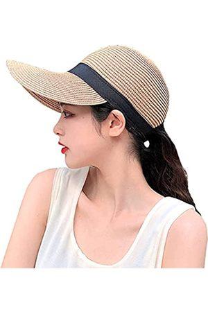 FADACHY Strohhut für Damen, Sonnenschutz, UV-Schutzfaktor 50+, verstellbarer Strandhut mit Pferdeschwanz