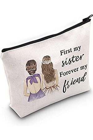 LEVLO Damen Clutches - Kosmetiktasche mit Reißverschluss, für Schwestern, Freundschaft, Geschenk für Schwestern, für Schwester, für immer meine Freundin