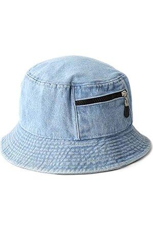 MIRMARU Vintage 100% Baumwolle Canvas Denim Bucket Hat - Casual Outdoor Angeln Wandern Safari Boonie Hut - Blau - S/M