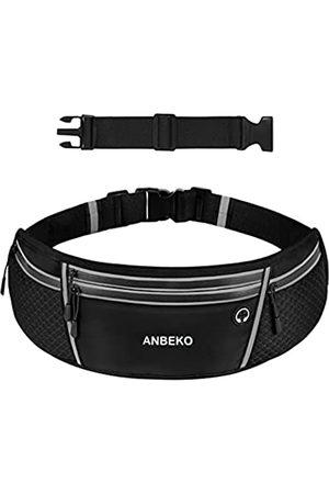 ANBEKO Universeller Laufgürtel mit Verlängerung, große Kapazität, Hüfttasche mit 4 Taschen, zum Wandern, Reisen, Campen, Laufen, Workout, Gürteltasche, reflektierend, kein Hüpfen