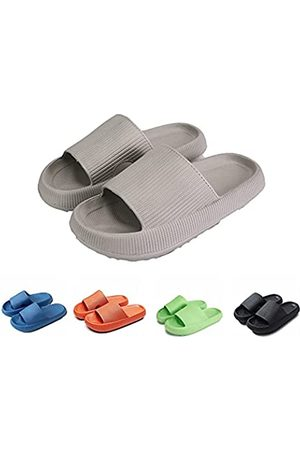 Jugsar Pillow Slides Slippers, Non-Slip Quick Drying Massage Bathroom Soft Thick Sole Sandals, Home Soled EVA Platform for Women and Men Indoor & Outdoor Slippers (Gray