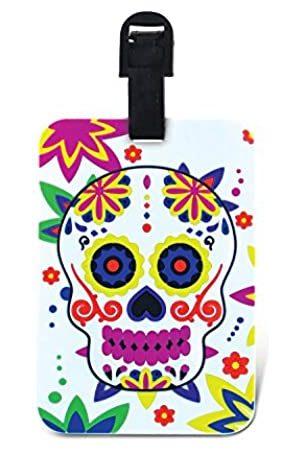 Puzzled Tag der Toten Gepäckanhänger – Einzigartige Sugar Skull Neuheit Reiseanhänger für Gepäck, Dia De Los Muertos Reiseausweis für Koffer