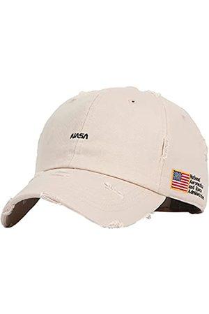 FLIPPER NASA Logo & amerikanische Flagge Seite Patch Unstrukturiert Vintage Bullet Holes Washed Washing Distressed Baseball Cap Dad Hat - - Large-X-Large
