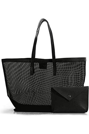 Hoxis Damen Strandtaschen - Netztasche mit veganem Lederbeutel Damen Strandtasche Shopper Picknicktasche