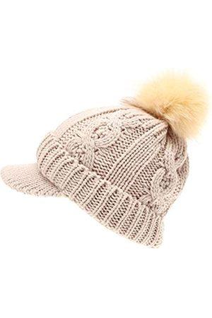 MIRMARU Damen Hüte - Damen Winter Warme Zopfstrickmütze Visier Krempe Pom Beanie Mütze mit weichem Sherpa-Futter - - Einheitsgröße