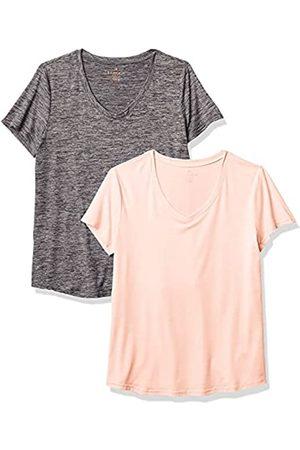 Danskin Damen 2 Pack Essential V Neck T-Shirt, Lotus Space Dye/Black Space Dye