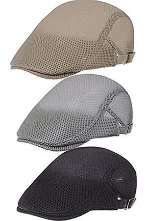 Geyoga 3 Stück Mesh Newsboy Cap Mesh Atmungsaktive Sommermütze Verstellbare Cabbie Flat Mesh Hüte Khaki Hellgrau