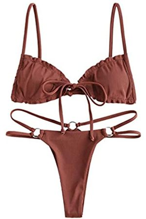Zaful Damen Bikinis - Sexy Cutout Gerippter Tanga-Bikini-Set Krawatte Seite Crisscross Tanga Bikini - - Large
