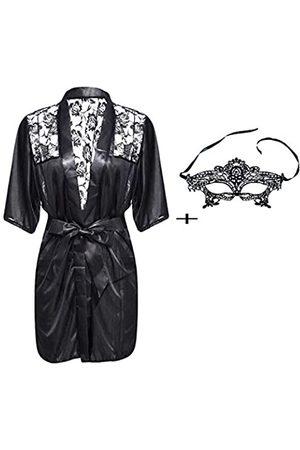 tengdi Women Lingerie Robe Short Satin Lace Trim Sexy Kimono Robe Sleepwear with Inside Ties and Lace Eye Mask