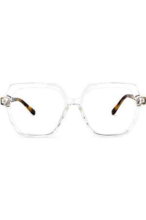 Zeelool Herren Hüte - Chic TR90 Geometrische Brille für Männer und Frauen mit nicht verschreibungspflichtigen klaren Gläsern Norah OT518836, Transparent (kristall)