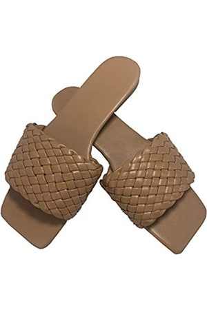 Generic Sandalen für Frauen Flats Strand Slides Sommer Haus Hausschuhe Schwarz Sandalen für Frauen Square Toe Geflochtene weiße Schuhe, (camel)