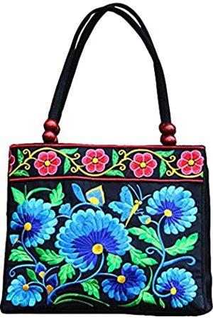 SAKUXI Bestickte Canvas Handtaschen Hobo Taschen Vintage Schultertaschen Strandtasche Boho Floral Tasche Reisetasche Einkaufstasche für Frauen, Schwarz (blaue blume)