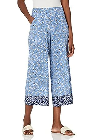 Max Studio Damen Crepe Cropped Wide Leg Pant Hose, Ditsy Orchidee, Marineblau/