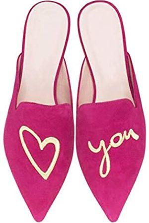 Emiwey Damen Rückenfrei Komfort Slip On Casual Flats Stickerei Mule Hausschuhe Schuhe, Pink (Rose-love U)