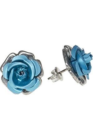 Schnabel Damen-Ohrstecker Rosenschmuck - Rose 100 blau 16mm