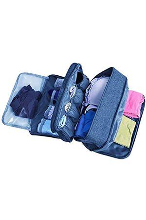 KINGSEVEN Tragbare Unterwäsche BH Aufbewahrungstasche Wasserdicht Reise Organizer mehrschichtige Toilettenartikel Verpackung Würfel (blau) - KSbb-181507205C