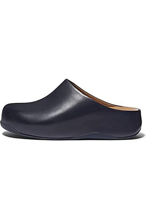 Fitflop Damen Clogs & Pantoletten - Damen shuv Leather Holzschuh, Midnight Navy (Marineblau)