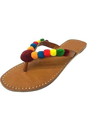 Step N Style Damen-Sandalen im Ethno-Stil, mit Perlen besetzt, Bommel, ethnisch, indisch, Jutti