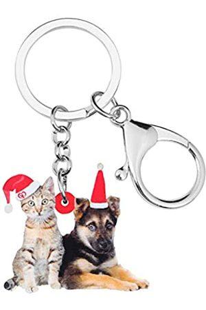 WEVENI JEWELRY Weveni Schlüsselanhänger mit Weihnachtsmütze, Drahthaar, Katze, Schäferhund, Schlüsselanhänger, für Damen, Mädchen, Tasche, Auto
