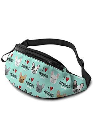 AZVBATT Große Bauchtasche mit französischer Bulldogge, Sportgürtel, Hüfttasche, zum Wandern, Laufen, Reisen