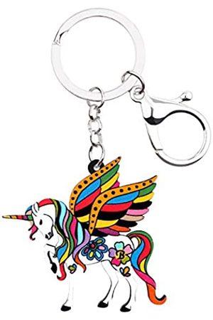WEVENI JEWELRY WEVENI Acryl-Schlüsselanhänger, Blumenmuster, Fantasie, Einhorn, Pferd, Modeschmuck, für Damen und Mädchen, Handtaschen-Charm