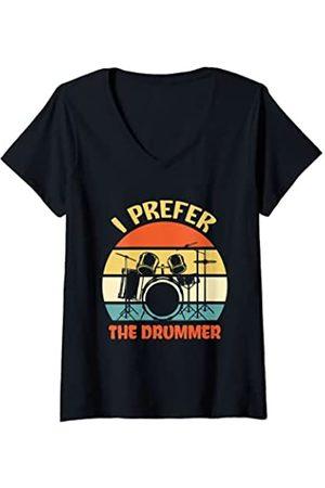 26 Rd Londonshirts Apparel Damen I Prefer The Drummer Funny Rock Music Band Drum Player T-Shirt mit V-Ausschnitt